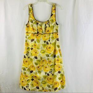 CAbi dress yellow floral summer dress size 6